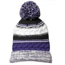 P Beanie 021 - Purple/Black/White