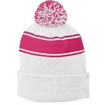 P Beanie 031 - White/Pink Raspberry